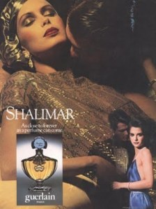 retro 1982 guerlain vintage shalimar ad with woman in gold